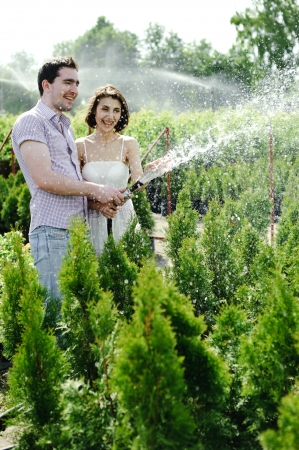 hoses: An image of a young couple in the garden