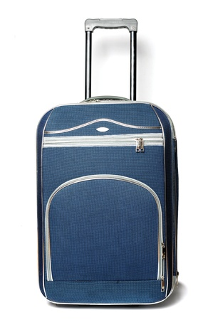 valise: An image of a blue valise with a handle Stock Photo
