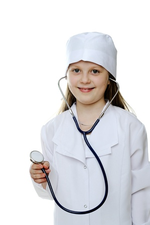 An image of a little girl dressed as a doctor photo