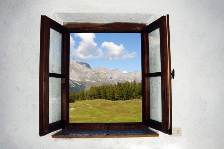 An image of an open window and beautiful picture outside Stock Photo