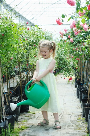 An image of a nice little girl watering flowers photo