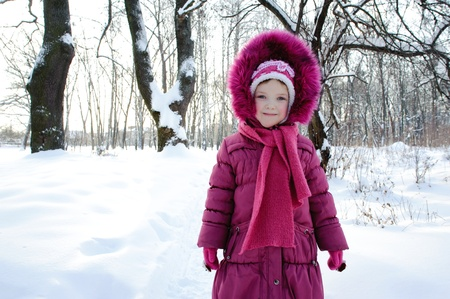 winter clothes: An image of a girl in a park in winter
