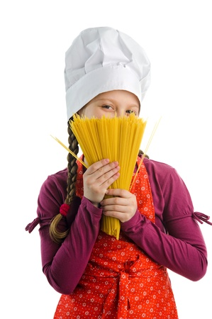 A nice chef with a bunch of yellow spaghetti Stock Photo - 13193588