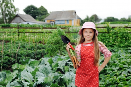An image of nice girl working in vegetable garden photo