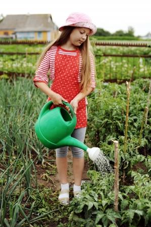 regando plantas: Chica regando las plantas en una huerta