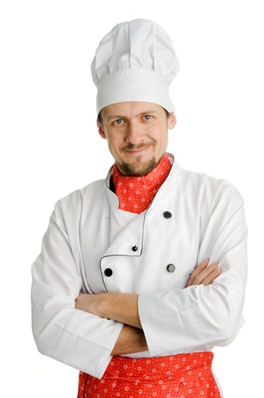 An image of a happy cheerful young chef photo