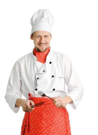 An image of a chef with fork and knife photo