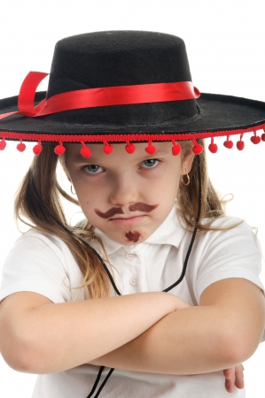 An image of little girl in a Mexican sombrero