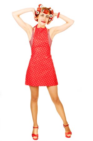 Nice housewife on white background photo