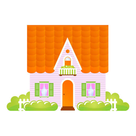 farmhouse: little house with a tiled roof. An illustration
