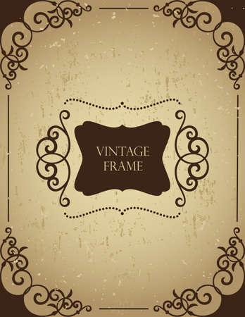 Vintage frame on grunge background.  矢量图像