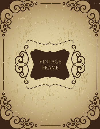 Vintage frame on grunge background.  Illustration