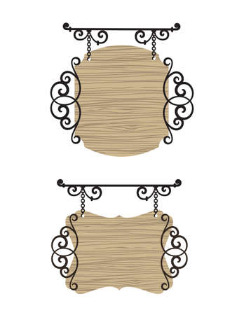 Wooden wrought iron vintage signs. Vector
