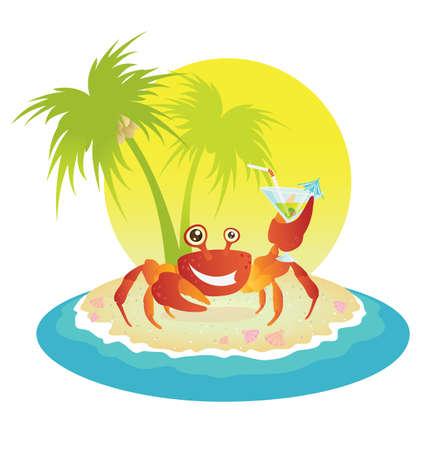 Cangrejo rojo en una isla tropical  Vectores
