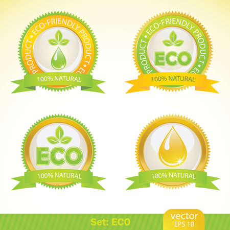 ecology labels. Stock Vector - 9843401