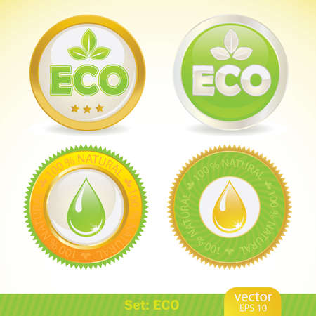 ecology labels. Stock Vector - 9843400