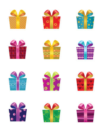 set of twelve colorful gift boxes Stock Vector - 9832841