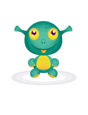 little, cute green monster  Vector