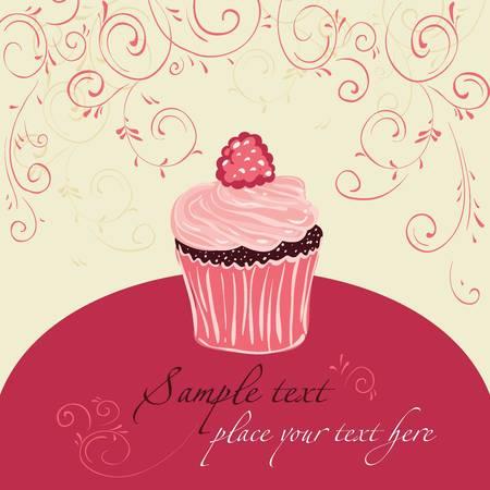 Raspberry cake. Template design for card.  矢量图像