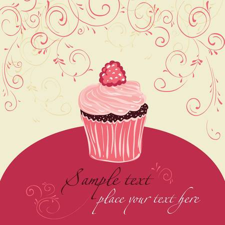 Raspberry cake. Template design for card.  Illustration