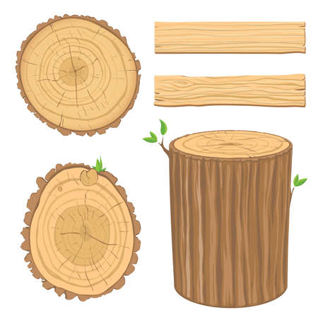 conjunto de materiales de madera - transversal del tronco de un árbol, aislado en fondo blanco  Ilustración de vector