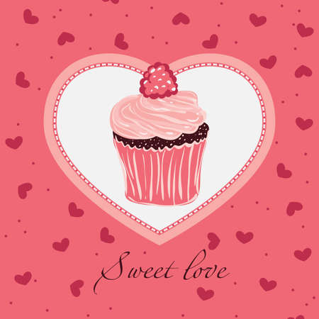 Sweet love. For themes like love, valentines day, holidays. Vector illustration. Vector