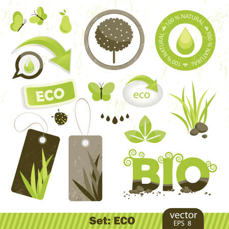 set eco and bio icons,   イラスト・ベクター素材