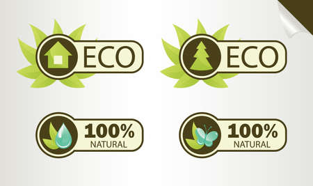 Natural and Eco Labels, an illustration Stock Vector - 9832894