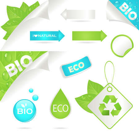 ecology labels and bio icons, An illustration Vector