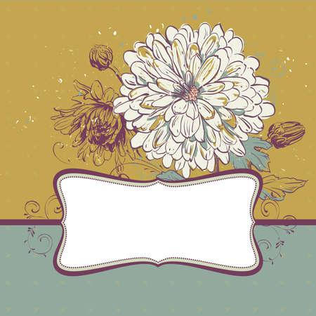 Fondo con crisantemos de floraci�n.Ilustraci�n con espacio para su mensaje.