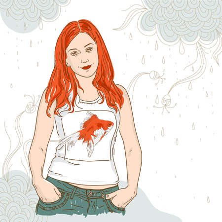 pretty girl with long red hair and goldfish Stock Vector - 9842918