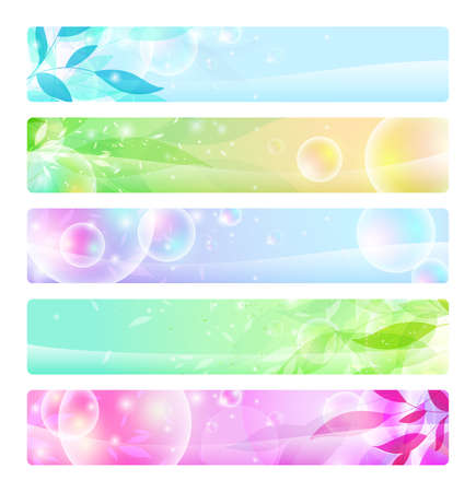 header label: stock set: glossy banners colorful, headers