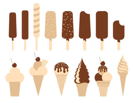popsicle: Ice cream pack. Set of 14 illustrations.