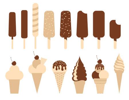 gofre: Paquete de helado. Conjunto de 14 ilustraciones. Vectores