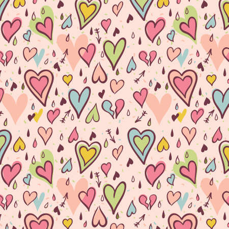 Hearts. Seamless Valentines Day  pattern, Vector Illustration Vector