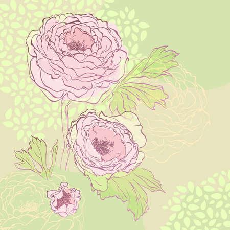 牡丹花束手描きイラスト。