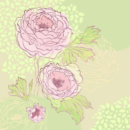 Peony bouquet hand-drawn illustration.  Иллюстрация