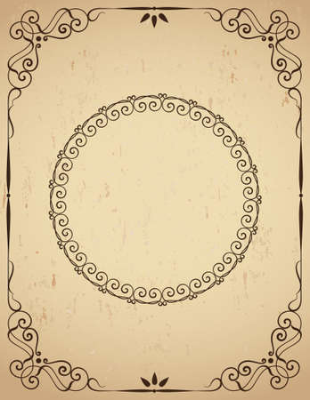 Vintage  frame on grunge background. An illustration