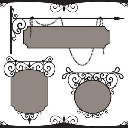 uithangbord: Vintage smeedijzeren borden.