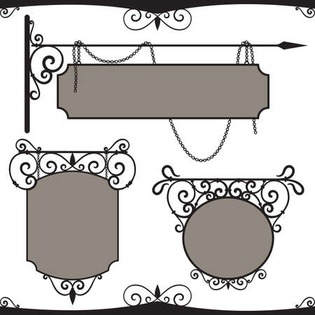 fabrication: Vintage wrought iron signs.  Illustration