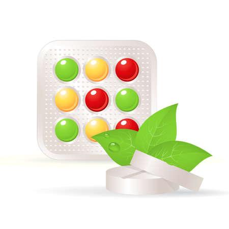 Vitaminas, tabletas herbales y hoja verde.  Medicina alternativa. Vectores