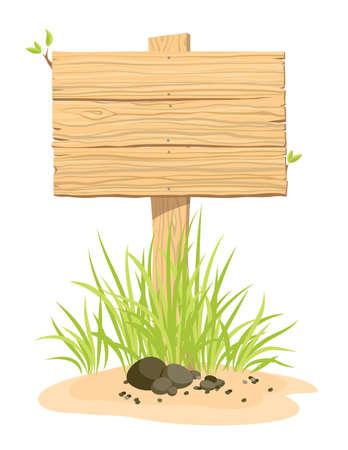緑の草と木の看板が。イラスト。