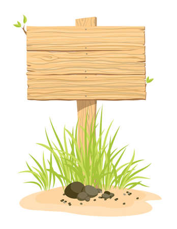 Wooden sign with green grass. An illustration. Çizim