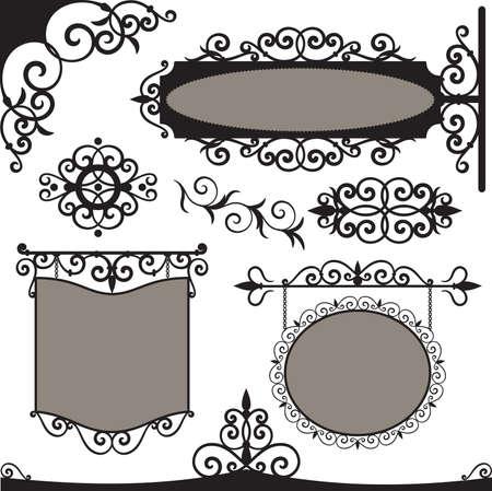 錬鉄ビンテージ サインとデザインの要素  イラスト・ベクター素材