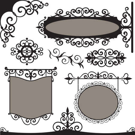 cast iron: Wrought iron vintage signs and elements for design Illustration