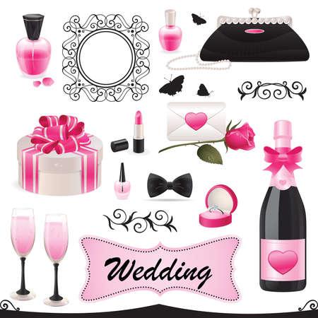 결혼식 아이콘 집합의 그림입니다. 일러스트