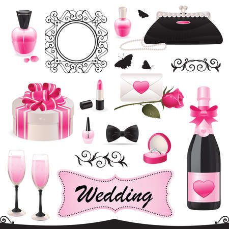 An illustration of a wedding icon set.  Illustration