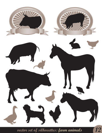 two labels and 12 silhouettes of animals Vector