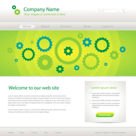 Verde plantilla de p�gina web creativa, ilustraciones vectoriales. eps10 Vectores