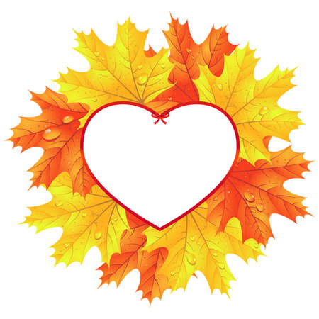 Leaves in the frame in the shape of heart. Autumn background